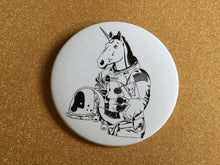 Load image into Gallery viewer, Magnet - 3.5 Inch - Roller Skating Unicorn Astronaut: B&W