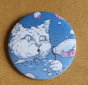 Magnet - 3.5 Inch: Bubble Cat - Blue