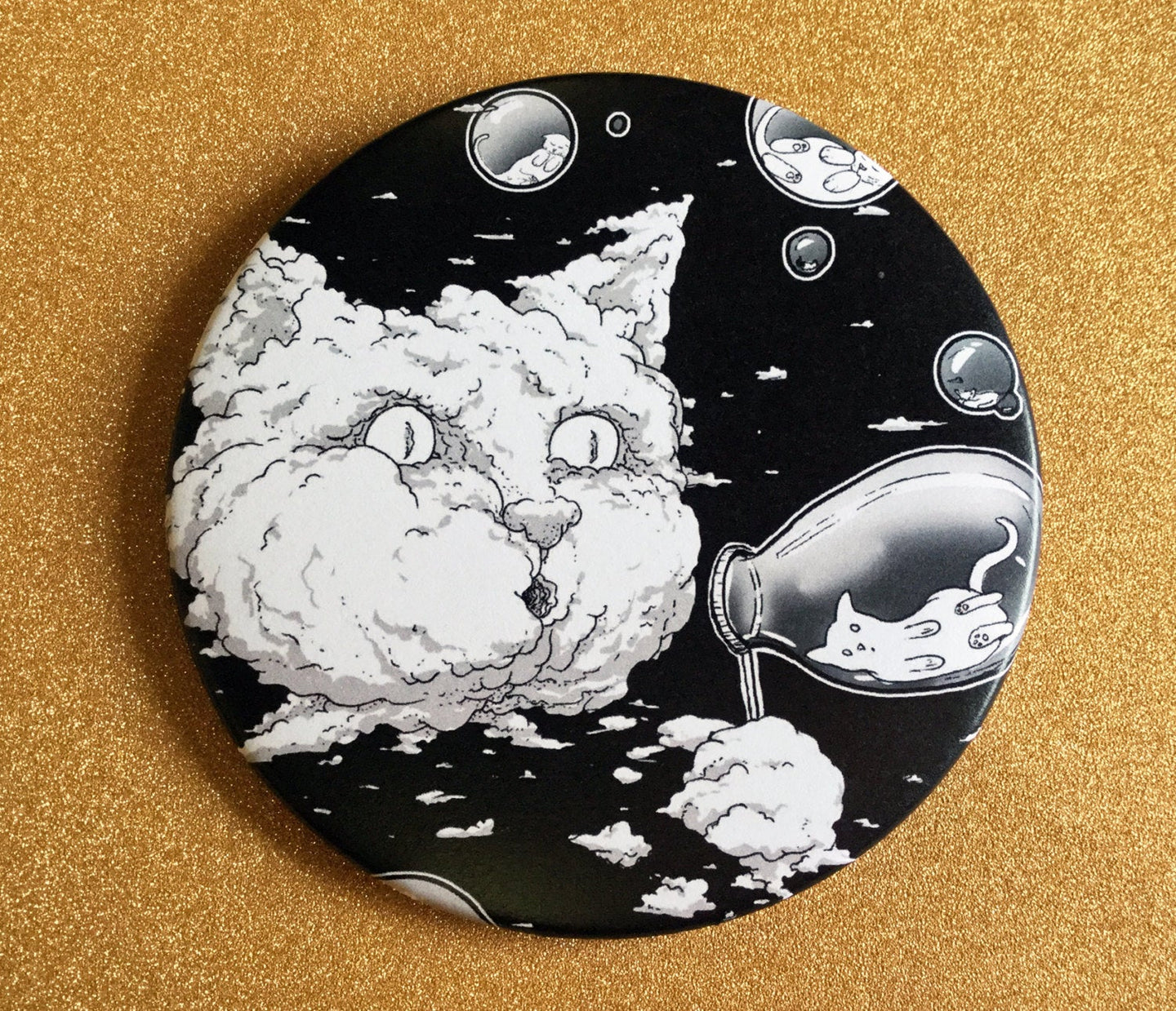 Magnet - 3.5 Inch - Bubble Cat: B&W