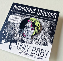 Load image into Gallery viewer, Enamel Pin: Astronaut Unicorn - GLOW IN THE DARK