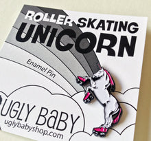 Load image into Gallery viewer, Enamel Pin: Roller Skating Unicorn - Hot Pink