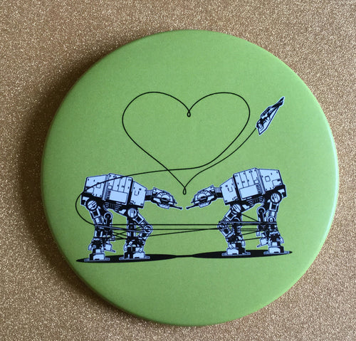 Magnet: 3.5 Inch - Love AT-AT First Sight: Green