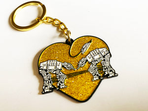Keychain: Love AT-AT First Sight - Gold Glitter
