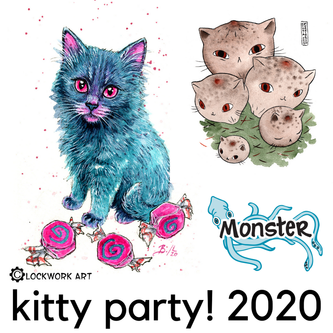 A blue kitty is surrounded by hot pink pieces of candy. Next to it is a group of kitties that are mushrooms - or meowshrooms. Get it? Meowshrooms. Where are you going? Across the bottom it has Monster's logo and also says