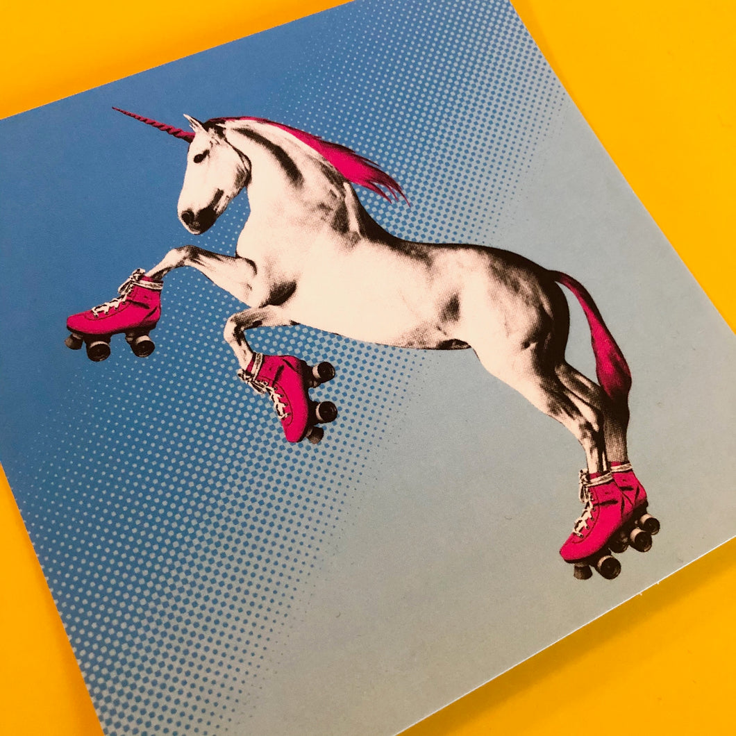4x4 Sticker - Roller Skating Unicorn - Blue