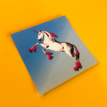 Load image into Gallery viewer, 4x4 Sticker - Roller Skating Unicorn - Blue