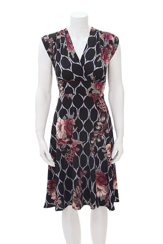 Veronica Lake Dress - Black Floral Lattice