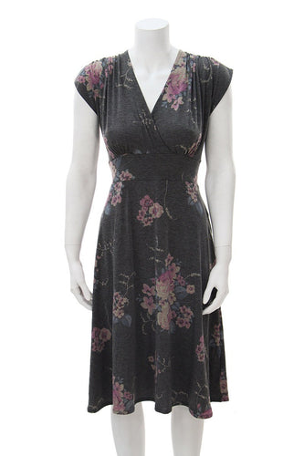 Veronica Lake Dress - Grey Floral