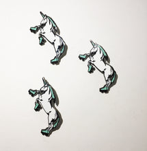 Load image into Gallery viewer, Enamel Pin: Roller Skating Unicorn - Mint - GLITTER
