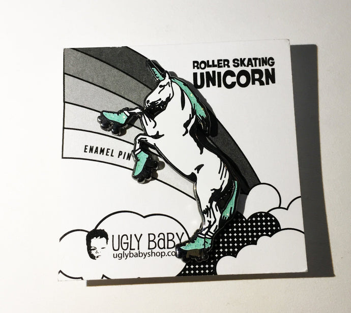 Enamel Pin: Roller Skating Unicorn - Mint - GLITTER