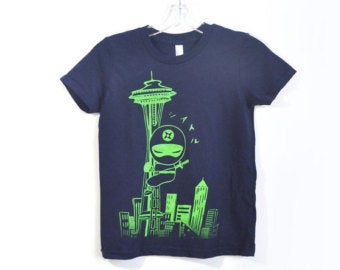 Toddler Shirt: Ninja on Space Needle - Unisex Crew