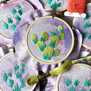 DIY Craft Kit - Embroidery - Ombre Blooming Prickly Pear Cactus