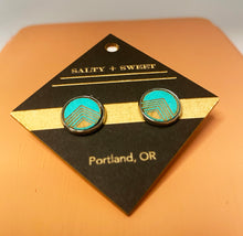 Load image into Gallery viewer, Earrings - Turquoise Block Stud