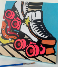Load image into Gallery viewer, DIY Craft Kit: Wood Canvas DIY Painting - Roller Skate