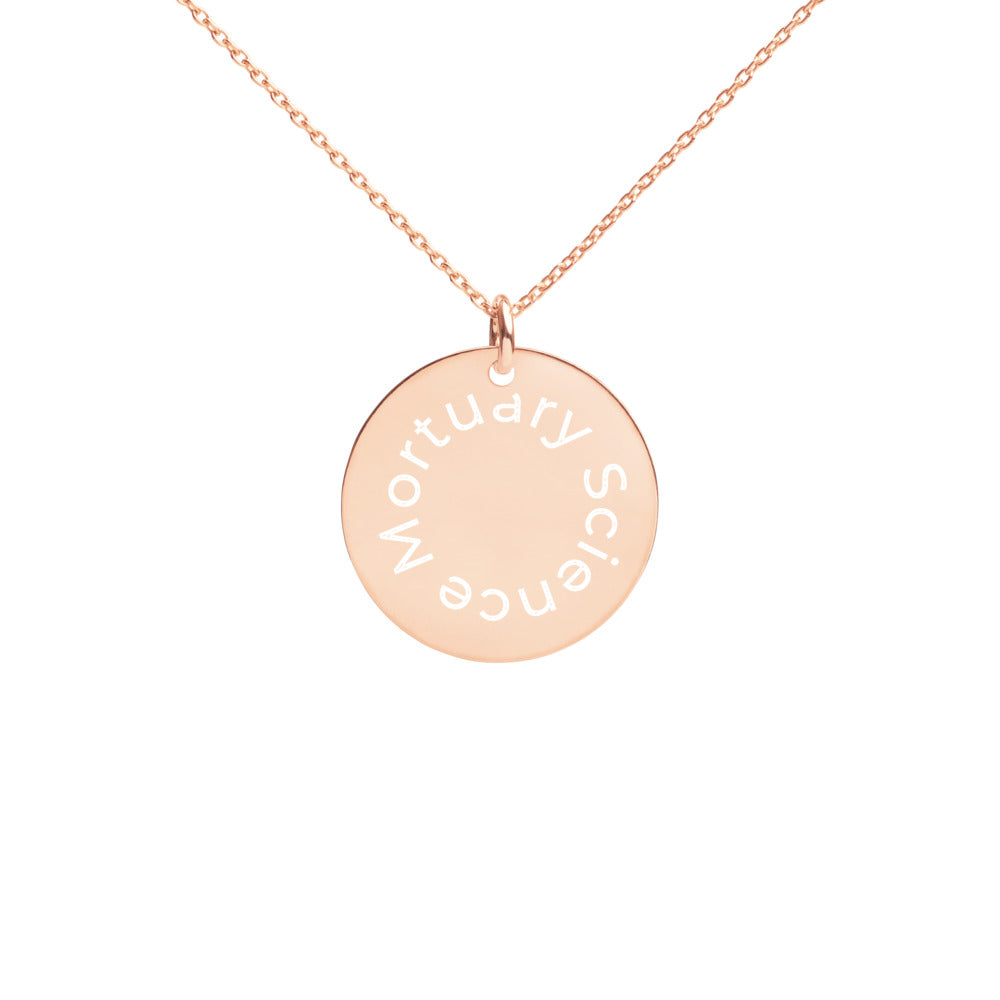 Mortuary Science Engraved Disc Necklace