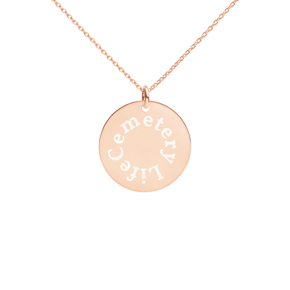 Cemetery Life Engraved Disc Necklace