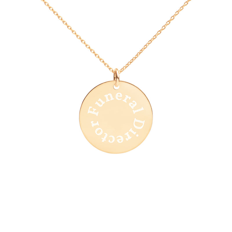 Funeral Director Engraved Disc Necklace