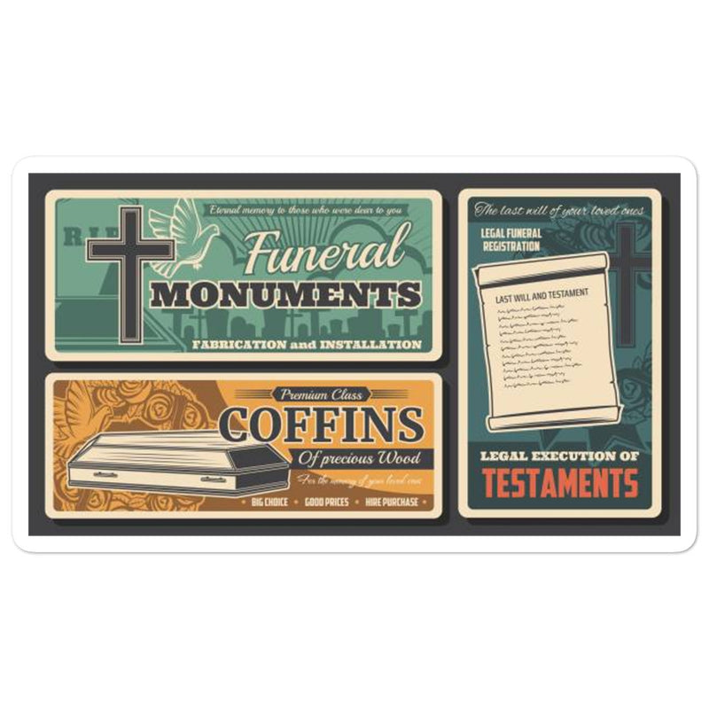 Old School Funeral Ad stickers