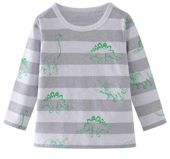 Grey Tonal Stripe Top with Green Dinosaur Print