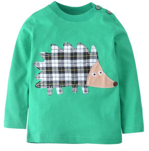 Green Long Sleeve Top with Hedgehog Applique