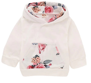 Floral and Cream Hoodie and Pants Set with Matching Headband