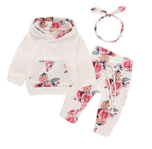 Load image into Gallery viewer, Floral and Cream Hoodie and Pants Set with Matching Headband