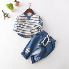 Load image into Gallery viewer, Slate Blue Striped Top and Matching Pants Set