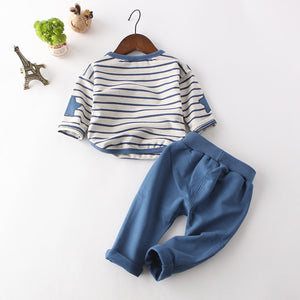 Slate Blue Striped Top and Matching Pants Set