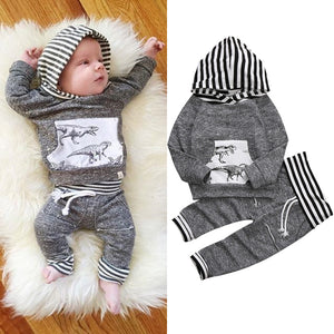 Dino Print Hoodie and Pants Set