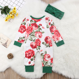 Cabbage Rose Print Long Sleeve Romper with Headband