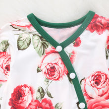 Load image into Gallery viewer, Cabbage Rose Print Long Sleeve Romper with Headband