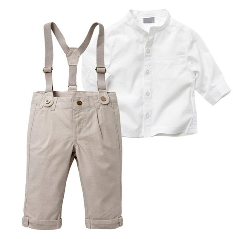 White Button Down, Khaki Pants & Suspenders Set