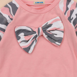 Pink & Grey Camouflage Set with Matching Headband