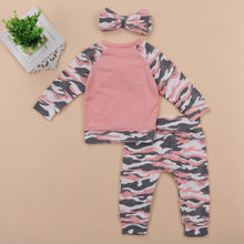 Load image into Gallery viewer, Pink & Grey Camouflage Set with Matching Headband