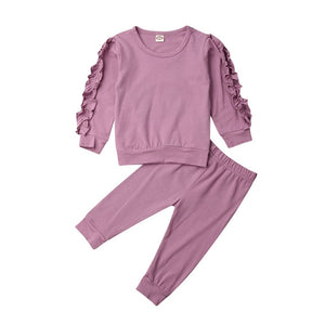 Long Sleeve Ruffle Arm and Pants Set