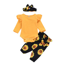 Load image into Gallery viewer, Sunflower Onesie and Pants Set with Matching Headband