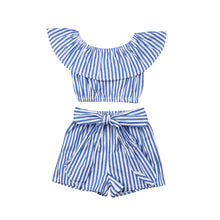 Load image into Gallery viewer, Striped Crop Top and Shorts Set
