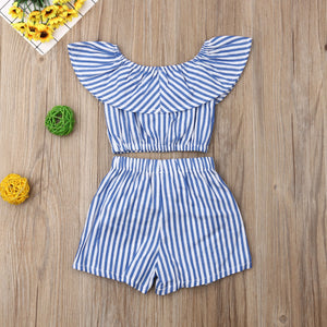 Striped Crop Top and Shorts Set