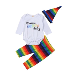 Mama's Rainbow Baby Onesie, Pants & Hat Set