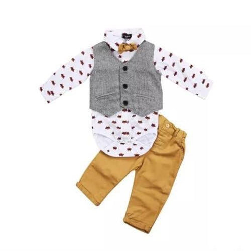 Adorable Raccoon Onesie, Vest, Pants & Bowtie Set