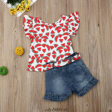 Load image into Gallery viewer, Watermelon Print Top and Ruffle Cuff Shorts Set