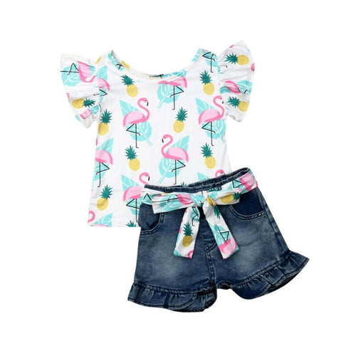 Flamingo Print Top and Ruffle Cuff Shorts Set