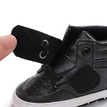 Load image into Gallery viewer, Vegan Hi-tops Pre-Walkers with Faux Tie Laces