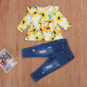 Sunflower Ruffle Top and Distressed Denim Set
