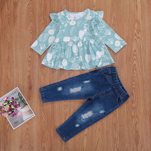 Blue Floral Ruffle Top and Distressed Denim Set
