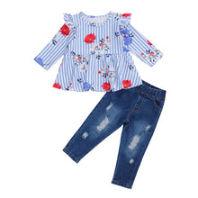 Load image into Gallery viewer, Candy-Striped Ruffle Top and Distressed Denim Set