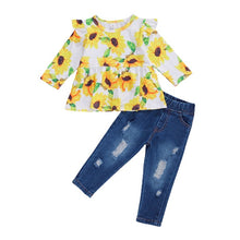 Load image into Gallery viewer, Sunflower Ruffle Top and Distressed Denim Set