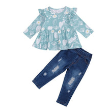 Load image into Gallery viewer, Blue Floral Ruffle Top and Distressed Denim Set