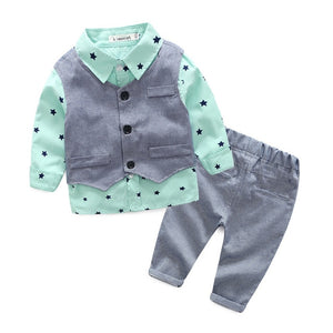 Star Print Button Down Shirt, Vest & Pants Set