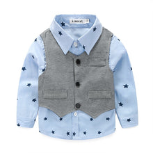 Load image into Gallery viewer, Star Print Button Down Shirt, Vest & Pants Set